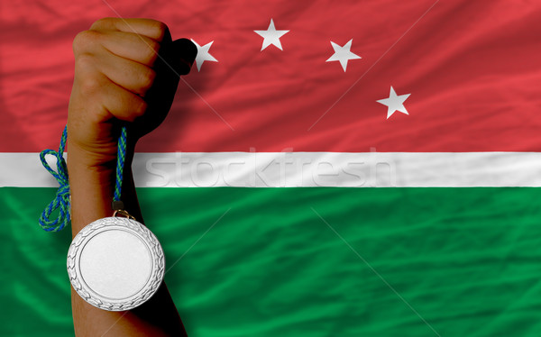 Silver medal for sport and  national flag of  of maghreb    Stock photo © vepar5