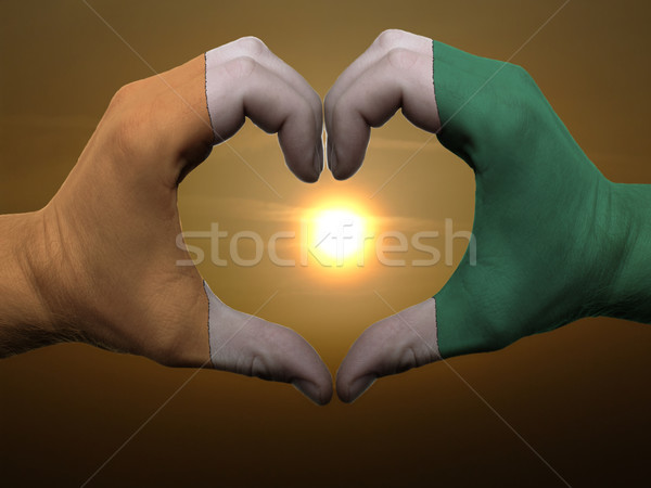 Heart and love gesture by hands colored in cote'd ivore flag dur Stock photo © vepar5