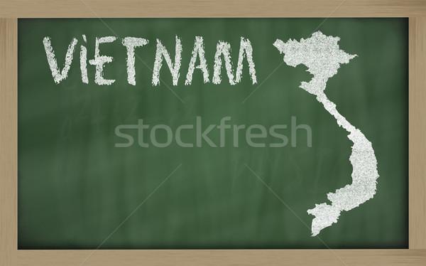 Harita Vietnam tahta çizim Stok fotoğraf © vepar5