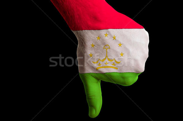 tajikistan national flag thumbs down gesture for failure made wi Stock photo © vepar5