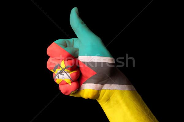Mozambik bayrak başparmak yukarı jest mükemmellik Stok fotoğraf © vepar5
