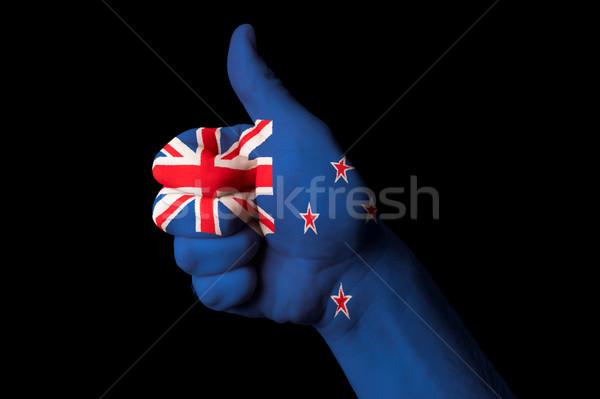 Yeni Zelanda bayrak başparmak yukarı jest mükemmellik Stok fotoğraf © vepar5