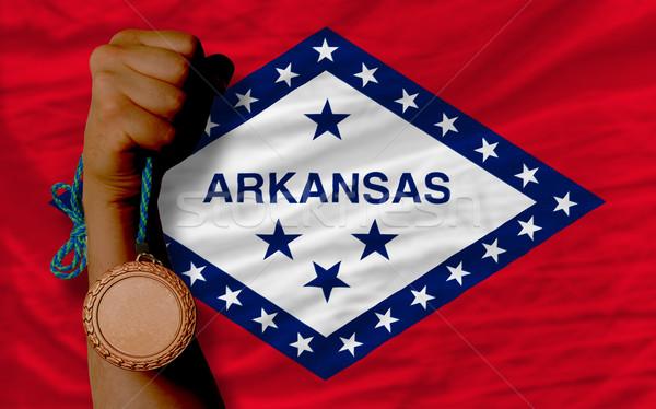 Bronz érem sport zászló amerikai Arkansas Stock fotó © vepar5