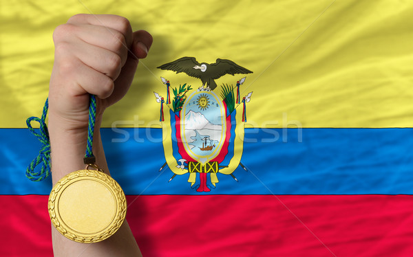 Médaille d'or sport pavillon Equateur gagnant Photo stock © vepar5