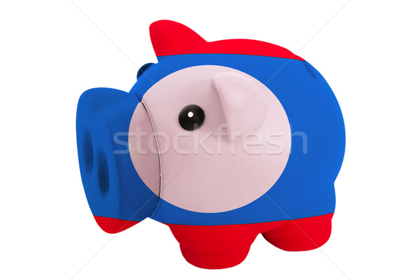 piggy rich bank in colors  national flag of laos    for saving m Stock photo © vepar5
