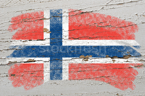 Stock photo: flag of norway on grunge wooden texture painted with chalk