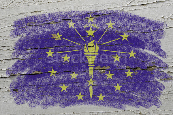 Stock photo: flag of US state of indiana on grunge wooden texture precise pai