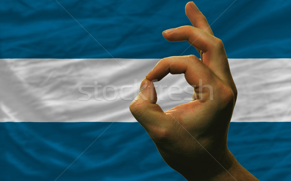 ok gesture in front of el salvador national flag Stock photo © vepar5