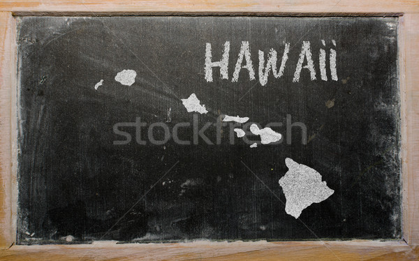 outline map of us state of hawaii on blackboard  Stock photo © vepar5