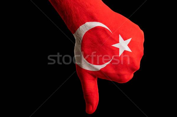 Stock photo: turkey national flag thumb down gesture for failure made with ha