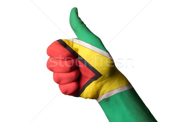 Гайана флаг большой палец руки вверх жест превосходство Сток-фото © vepar5