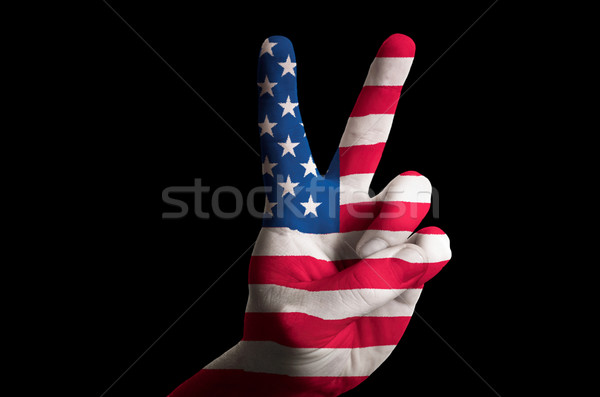 america national flag two finger up gesture for victory and winn Stock photo © vepar5
