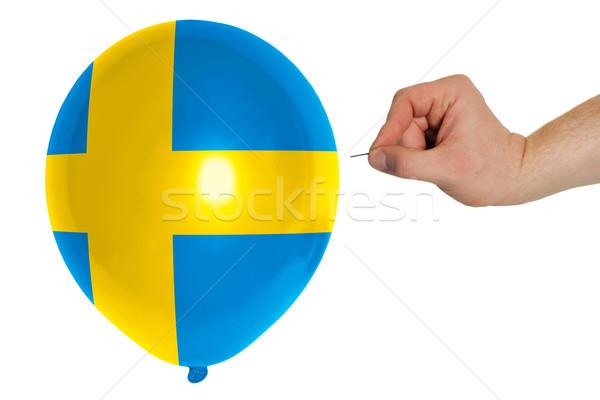 Bursting balloon colored in  national flag of sweden    Stock photo © vepar5