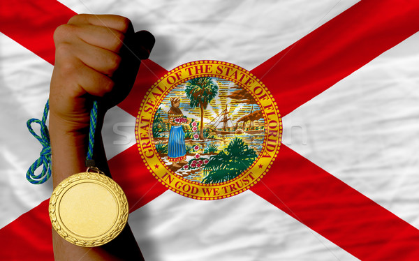 Gold medal for sport and  flag of american state of florida    Stock photo © vepar5