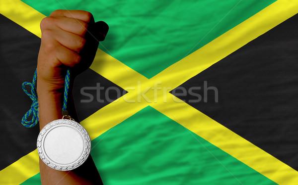 Gümüş madalya spor bayrak Jamaika Stok fotoğraf © vepar5