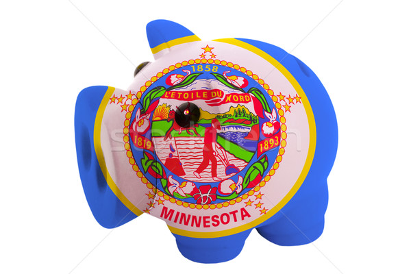 piggy rich bank in colors  flag of american state of minnesota   Stock photo © vepar5