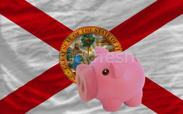 piggy rich bank and  flag of american state of florida    Stock photo © vepar5