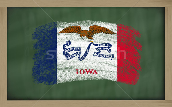 Zászló Iowa iskolatábla festett kréta amerikai Stock fotó © vepar5