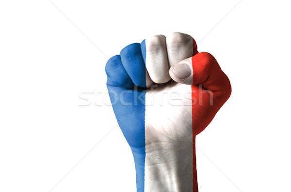 Pięść malowany kolory Francja banderą niski Zdjęcia stock © vepar5