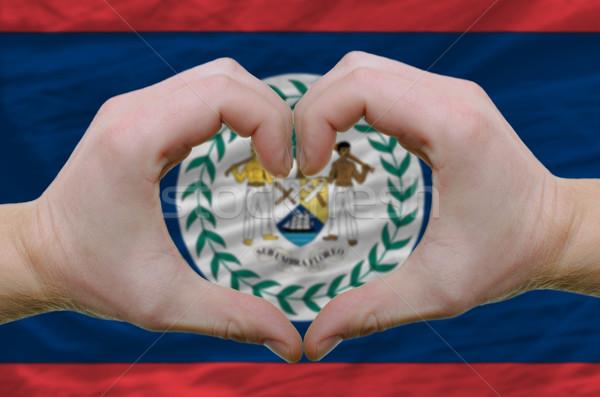 Szív szeretet kézmozdulat kezek zászló Belize Stock fotó © vepar5