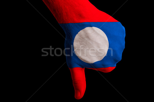 laos national flag thumbs down gesture for failure made with han Stock photo © vepar5