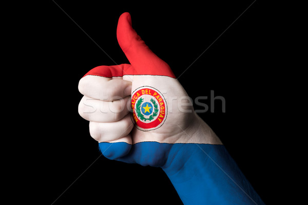 paraguay national flag thumb up gesture for excellence and achie Stock photo © vepar5