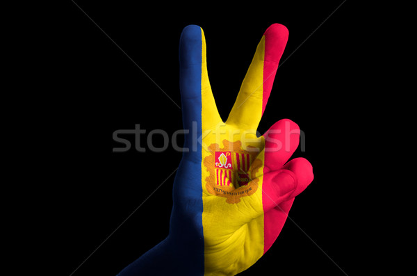 andorra national flag two finger up gesture for victory and winn Stock photo © vepar5