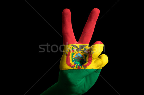 bolivia national flag two finger up gesture for victory and winn Stock photo © vepar5