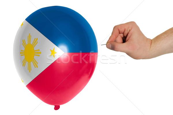 Balão bandeira Filipinas pop destruição Foto stock © vepar5