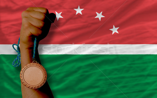 Bronze medal for sport and  national flag of  of maghreb    Stock photo © vepar5