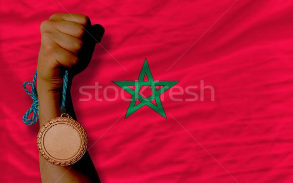 Bronze medal for sport and  national flag of morocco    Stock photo © vepar5