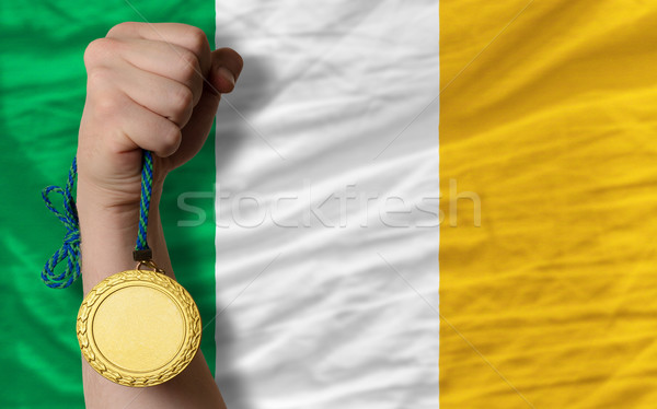 Gold medal for sport and  national flag of ireland    Stock photo © vepar5