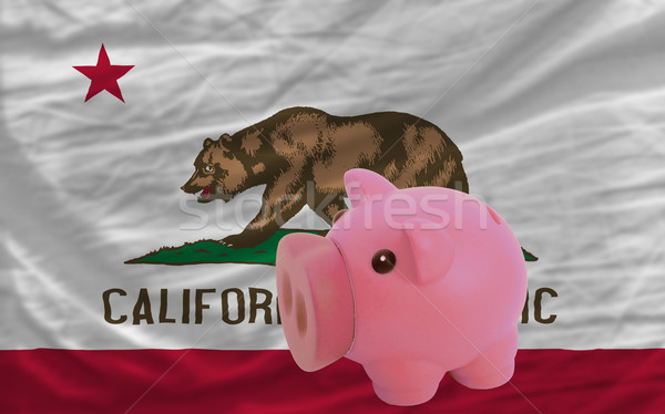 piggy rich bank and  flag of american state of california    Stock photo © vepar5