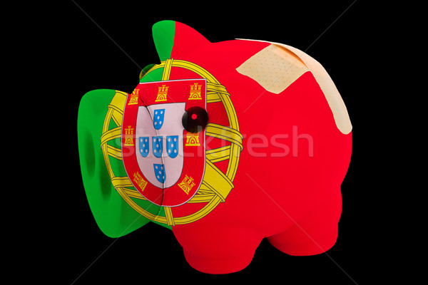 bankrupt piggy rich bank in colors of national flag of portugal  Stock photo © vepar5