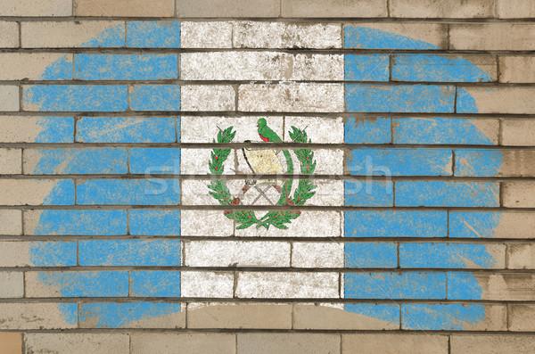 Stockfoto: Vlag · Guatemala · grunge · muur · geschilderd · krijt