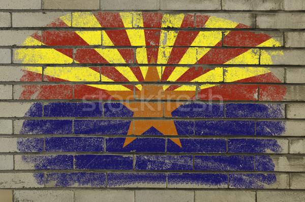 Гранж флаг Аризона кирпичная стена окрашенный американский Сток-фото © vepar5