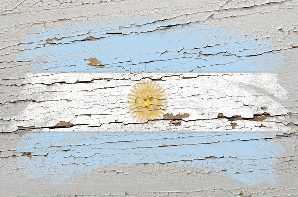 flag of Argentina on grunge wooden texture painted with chalk   Stock photo © vepar5