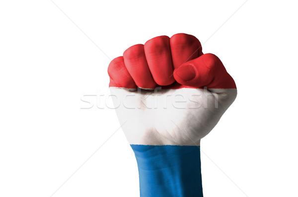 ököl festett színek Hollandia zászló alacsony Stock fotó © vepar5