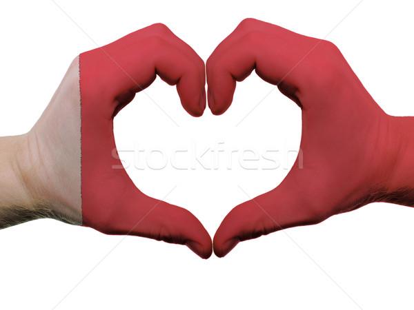 Coração amor gesto Bahrein bandeira cores Foto stock © vepar5