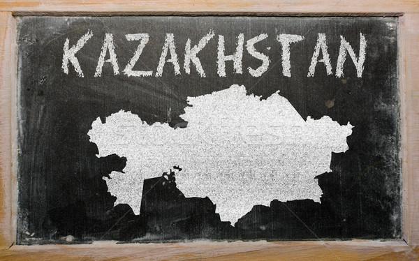 Gliederung Karte Kasachstan Tafel Zeichnung gezeichnet Stock foto © vepar5
