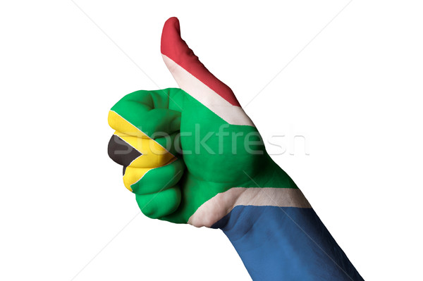 south africa national flag thumb up gesture for excellence and a Stock photo © vepar5
