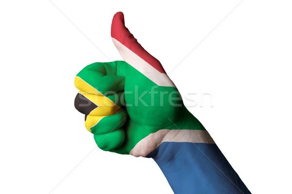 Foto stock: África · do · Sul · bandeira · polegar · para · cima · gesto · excelência