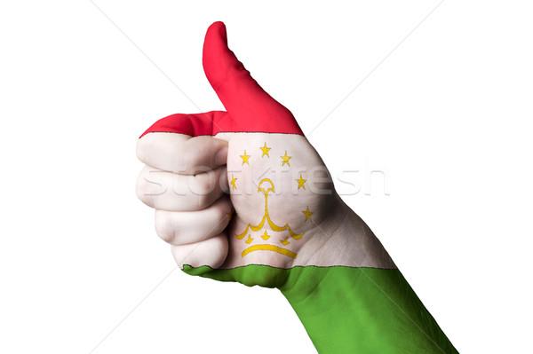Tajiquistão bandeira polegar para cima gesto excelência Foto stock © vepar5