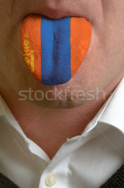 man tongue painted in mongolia flag symbolizing to knowledge to  Stock photo © vepar5