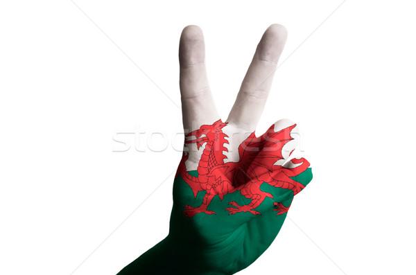 Galler bayrak iki parmak yukarı jest Stok fotoğraf © vepar5