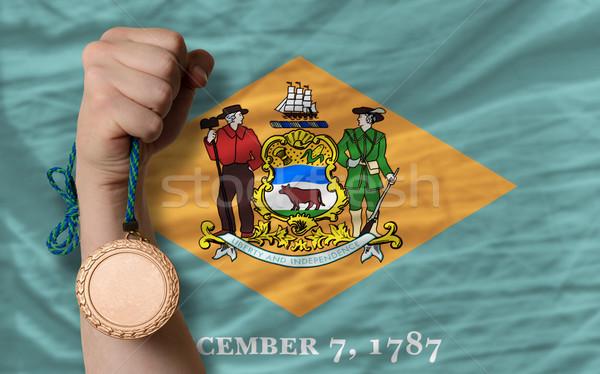 Bronzen medaille sport vlag amerikaanse Delaware Stockfoto © vepar5