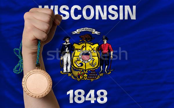 бронзовый медаль спорт флаг американский Висконсин Сток-фото © vepar5