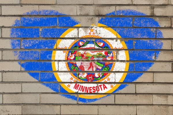 Forma de coração bandeira Minnesota parede de tijolos coração Foto stock © vepar5