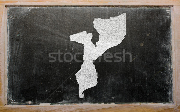 Stock photo: outline map of mozambique on blackboard
