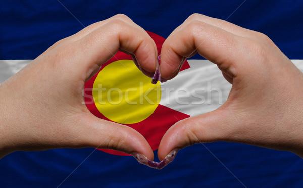 американский флаг Колорадо сердце любви жест Сток-фото © vepar5
